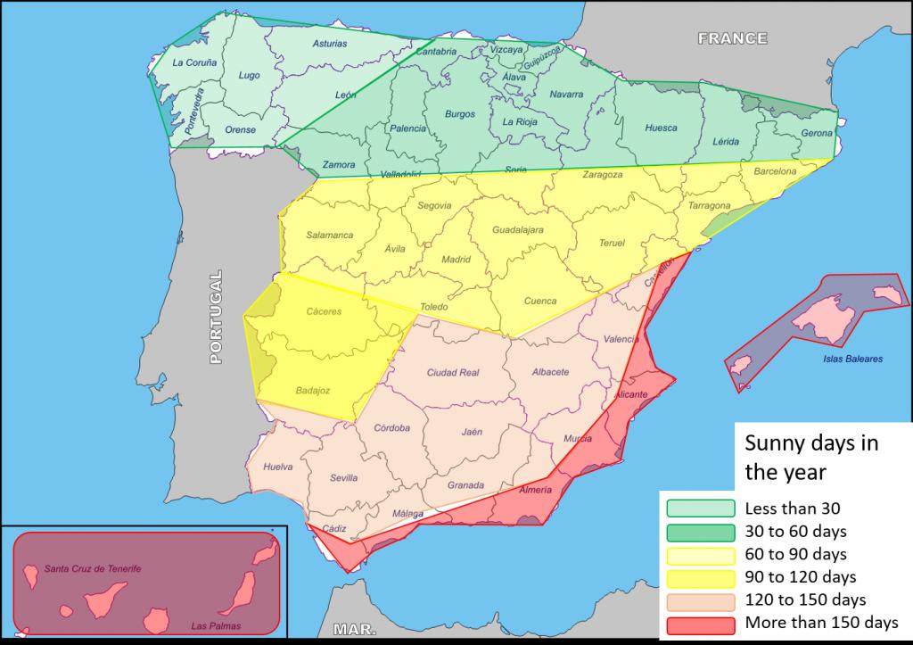 Costa De La Luz Spain Map.Weather In Spain Sunshine Forever Iberian Properties